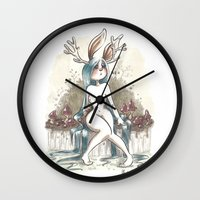 jackalope Wall Clocks featuring Jackalope by Laeti Vanille