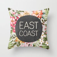 tupac Throw Pillows featuring East Coast by Text Guy