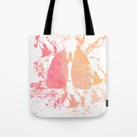 lungs Tote Bags featuring lungs by divinerush