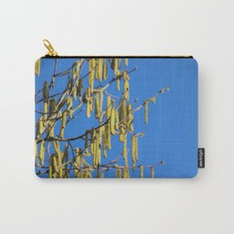 Bright Yellow Catkins Against Blue Sky Background Carry-All Pouch