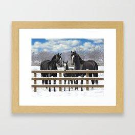 Black Quarter Horses In Snow Framed Art Print