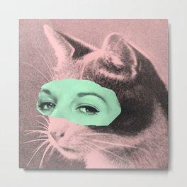 Indifferent Cat Woman Metal Print