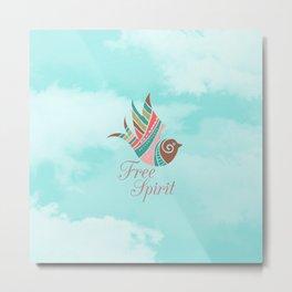 Modern turquoise pink white clouds aztec bird free spirit typography Metal Print