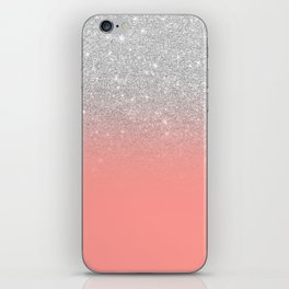 Modern chic coral pink silver glitter ombre gradient iPhone Skin