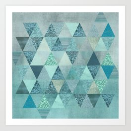 Glamorous Blue Glitter And Foil Triangles Art Print