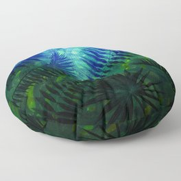 Blue Aloha - Morning Light abstract Tropical Palm Leaves and Monstera Leaf Garden Floor Pillow