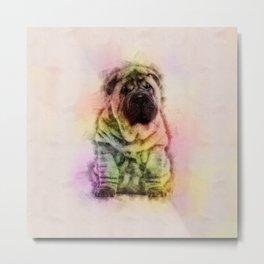 Shar-Pei puppy Sketch Digital Art Metal Print