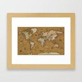 World Treasure Map Framed Art Print