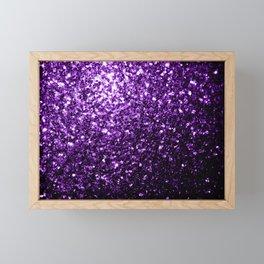 Beautiful Dark Purple glitter sparkles Framed Mini Art Print