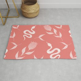 Snakes, blooming summer pink roses and lush leaves modern botanical and animal elegant distressed pastel coral red design. Rug