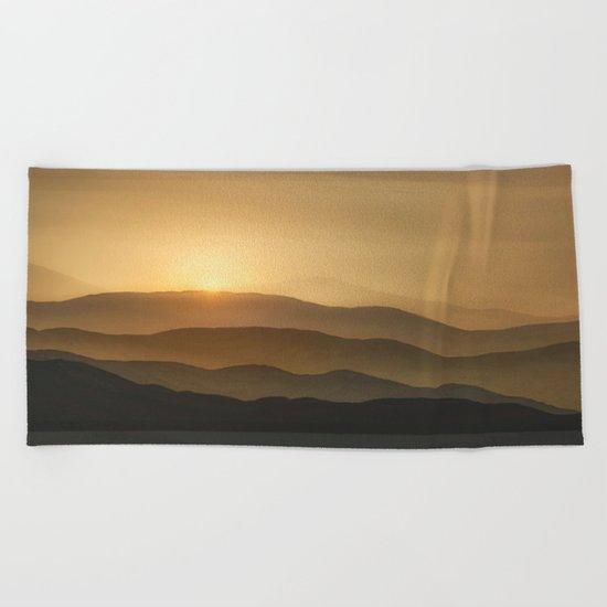 Sunrise in the mountains - beautiful morning - #Society6 #buyart Beach Towel