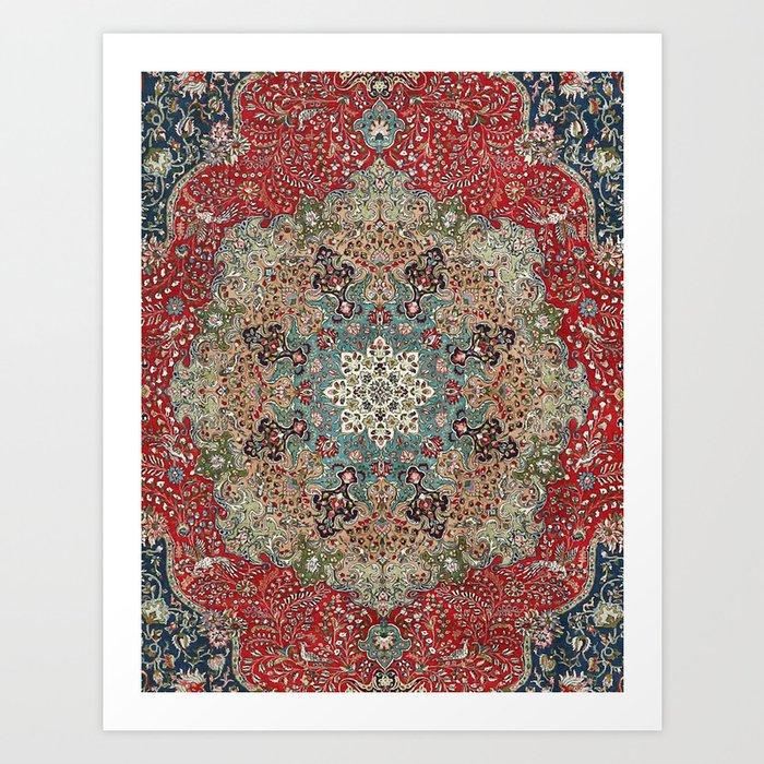 Antique Red Blue Black Persian Carpet Print Kunstdrucke