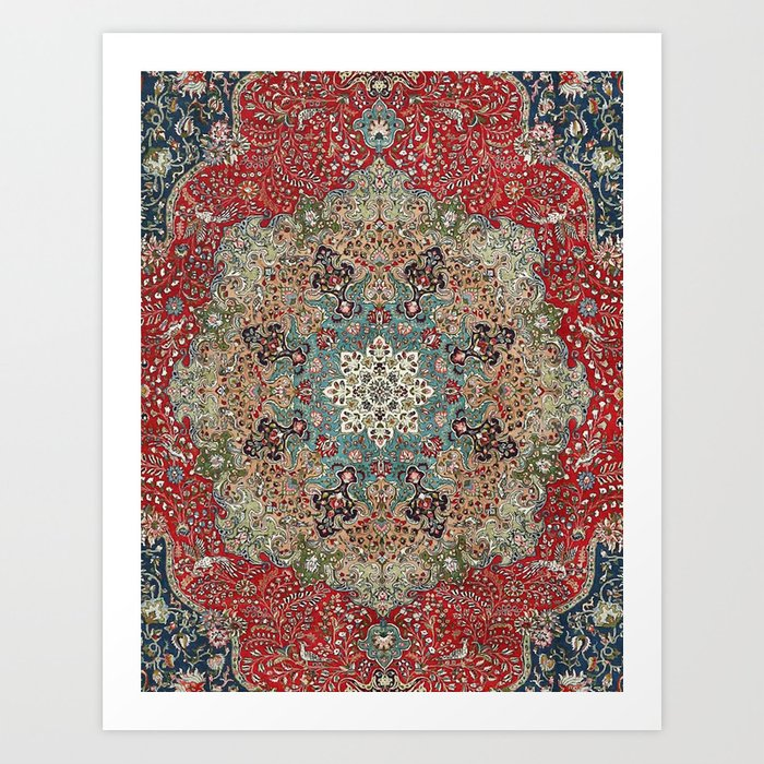 Antique Red Blue Black Persian Carpet Print Kunstdrucke