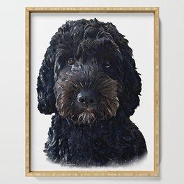 Black Cockapoo / Doodle Dog Portrait  Serving Tray