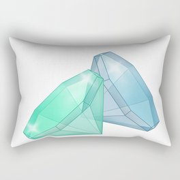 Precious blue and green gems on a white background . Rectangular Pillow