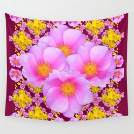 Pink & Yellow Burgundy Rose Flowers Art Wall Tapestry
