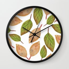 Autumn Watercolor Brown and Green Fall Leaves Wall Clock