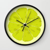 lime Wall Clocks featuring Lime by Avigur