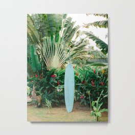 The blue surfboard | Travel photography print | The Dominican Republic Metal Print