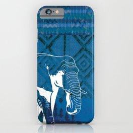 Elephant blue African textile iPhone Case