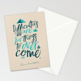 Shackleton quote on difficulties, illustration, interior design, wall decoration, positive vibes Stationery Cards