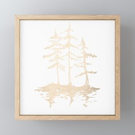 Three Sisters Forest White Gold Trees Framed Mini Art Print
