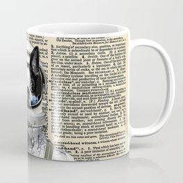 Space Pup with dictionary background Coffee Mug
