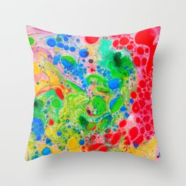 Marbling 4, Tie Dye Effect Abstract Pattern Throw Pillow
