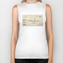 Vintage Map of The White Mountains (1852) Biker Tank