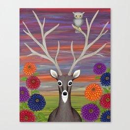 white tailed deer, owl, zinnias Canvas Print