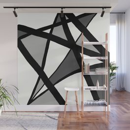 Geometric Line Abstract - Black Gray White Wall Mural
