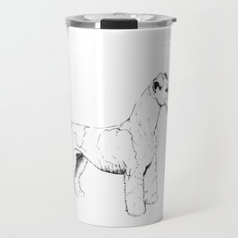 Wire Haired Fox Terrier Ink Drawing Travel Mug