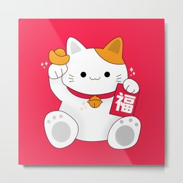 Fortune Cat Metal Print