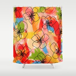 Hibiscus Family #1 - hibiscus illustration flower pattern floral painting nursery room decor Hawaii Shower Curtain