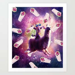 Thug Space Cat On Llama Unicorn - Burrito Art Print