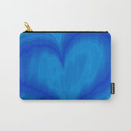 Valentine's Day Blue Heart Wavy Pattern Carry-All Pouch