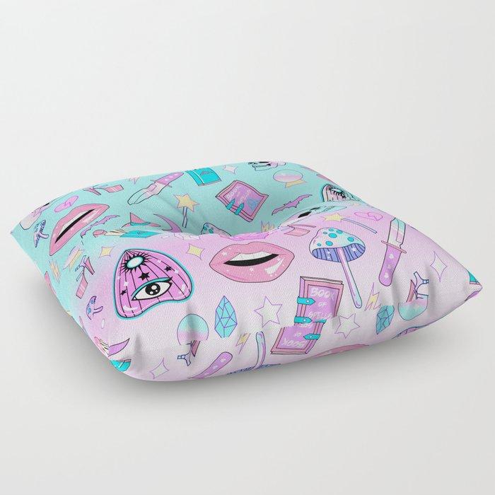 Girly Pastel Goth Witch Pattern Floor Pillow by lunaelizabeth | Society6