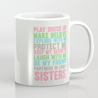 sisters Mugs featuring sisters by studiomarshallarts