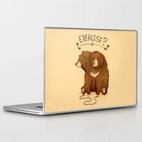 fitness Laptop & iPad Skins featuring Fitness Bear by sociopteryx