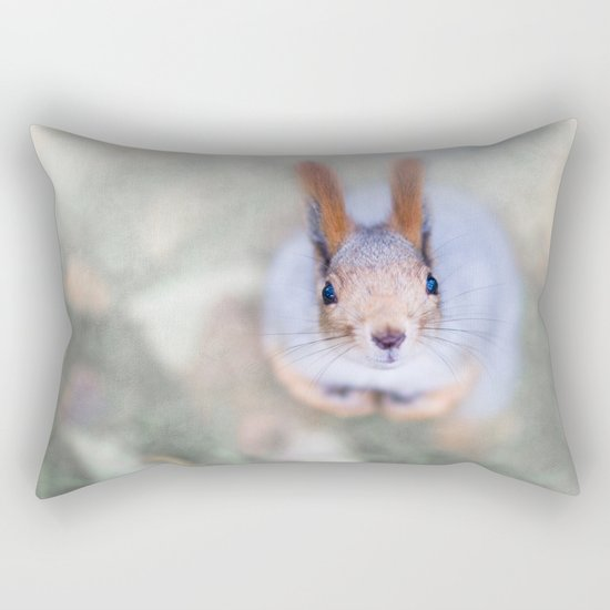 Squirrel looks at you from the bottom up Rectangular Pillow