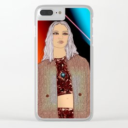 Social Jetlag - Mean Girls Stare, Nice Girls Smile, Digital Art Clear iPhone Case
