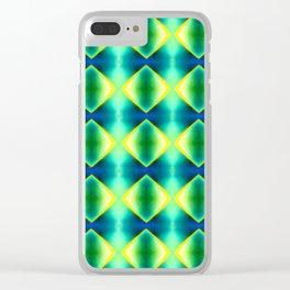Green Yellow Geometric Metallic Diamond Pattern Clear iPhone Case
