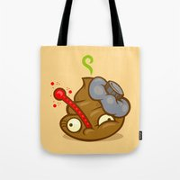 poop Tote Bags featuring Sick Poop by Artistic Dyslexia