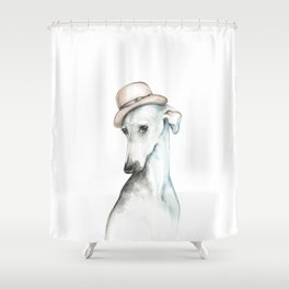 Bowler hat greyhound_ Illustrious dogs. Shower Curtain