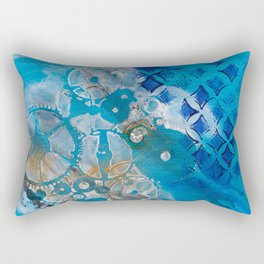Blue Abstract with Diamond Rectangular Pillow