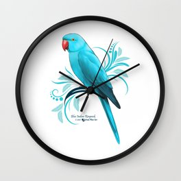 Bue Indian Ringneck Parrot Wall Clock