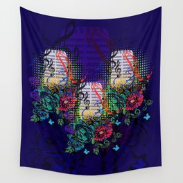 Retro musical microphone with floral Wall Tapestry
