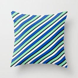 TEAM COLORS 1...Blue and aqua Throw Pillow