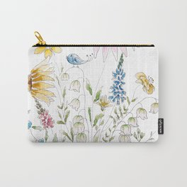 wild flowers and blue bird _ink and watercolor 1 Carry-All Pouch