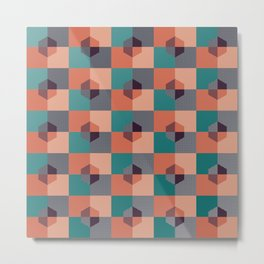 Hexagon Pattern Metal Print